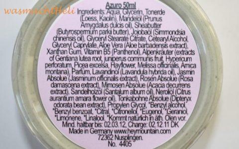 Inhaltsstoffe Heymountain Azuro Facemask