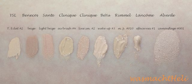 YSL Touche Eclat #2, Benecos Concealer beige, Sante Abdeckstift light beige, Clinique airbrush concealer 04 neutral fair, Clinique line smoothing concealer Nr. 2, BeYu Wake Up Stick #3, Rimmel Match Perfection concealer 010 ivory, Lancome effacernes longue tenue 01 beige pastel, Alverde camouflage 001 sand