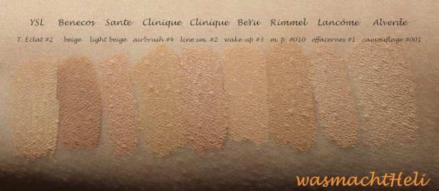 Swatches: YSL Touche Eclat Nr. 2, Benecos beige, Sante Abdeckstift light beige, Clinique airbrush concealer 040 neutral fair,  Clinique line smoothing concealer Nr. 2,  BeYu Wake Up Stick Nr. 3, Rimmel match perfection concealer 010 ivory, Lancome effacernes longue tenue #1 beige pastel, Alverde camouflage 001 sand