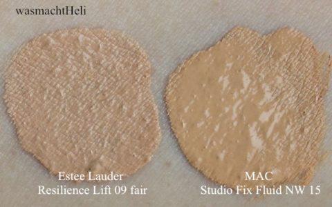 Swatches Estee Lauder Resilience Lift Extreme Makeup 09 light, MAC Studio Fix Fluid NW 15