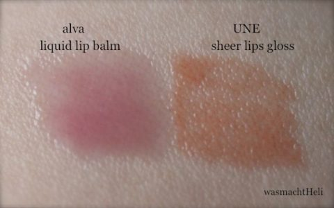 Swatches alva liquid lip balm UNE sheer lips gloss
