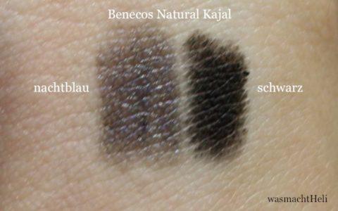 Swatches Benecos Kajals nachtblau und schwarz