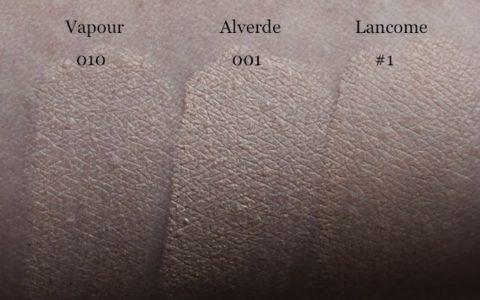 Swatches Vapour Illusionist Concealer 010, Alverde Camouflage 001 sand, Lancome Effacernes Longue Tenue 1 beige pastel