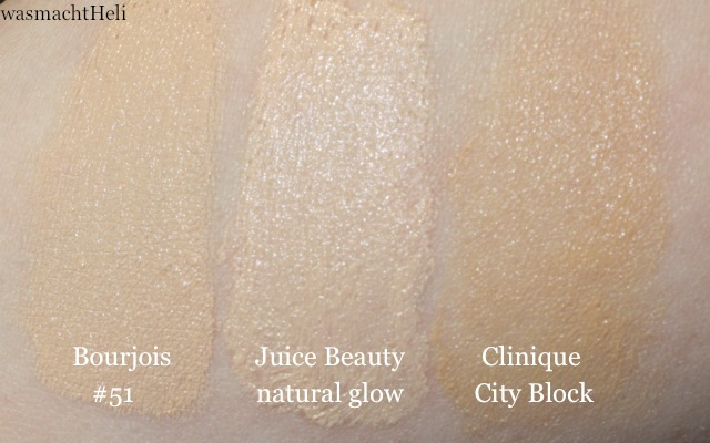 Swatch Juice Beauty CC Cream natural glow, Boujois Healthy Mix #51, Clinique City Block Sheer Tint