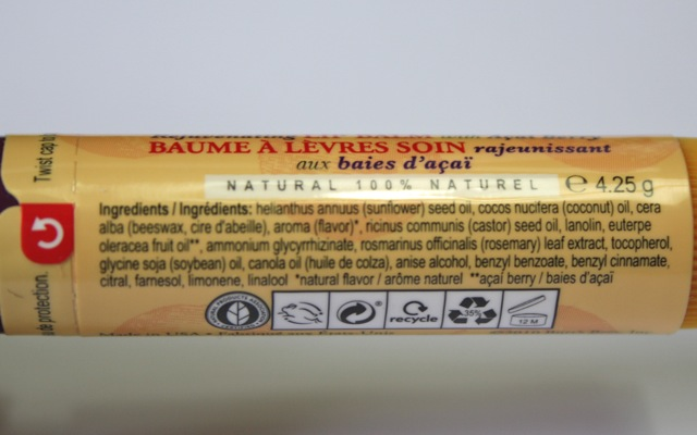 Inhaltsstoffe Burt's Bees Acai Berry Lip Balm Lippenpflegestift