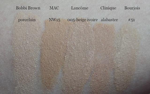 Swatch Lancome Teint Visionnaire 005 beige ivoire, Bobbi Brown porcelain, MAC NW15, Clinique alabaster, Bourjois Healthy Mix 51