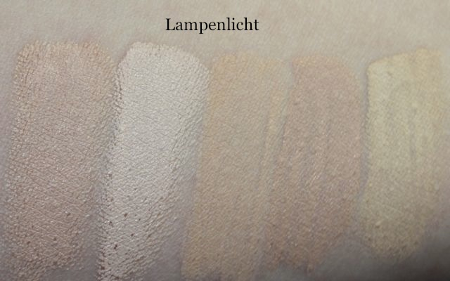 Swatch: Concealer Lancome Effacernes Longue Tenue, NYX Concealer Wand, Clinique Airbrush, Maybelline Fit Me, Shiseido Natural Finish Concealer