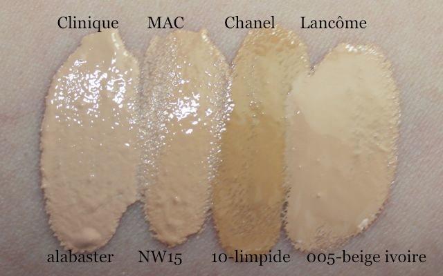 Swatch Clinique alabaster, MAC NW15, Chanel Vitalumiere 10 limpide, Lancome Teint Visionnaire 005 beige ivoire
