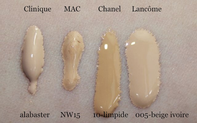 Swatches: Clinique alabaster, MAC NW15, Chanel Vitalumiere 10 limpide, Lancome Teint Visionnaire 005 beige ivoire