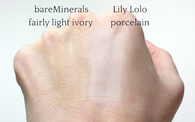 "Swatch: Everyday Minerals ""fairly light ivory"" + Lily Lolo ""porcelain"""