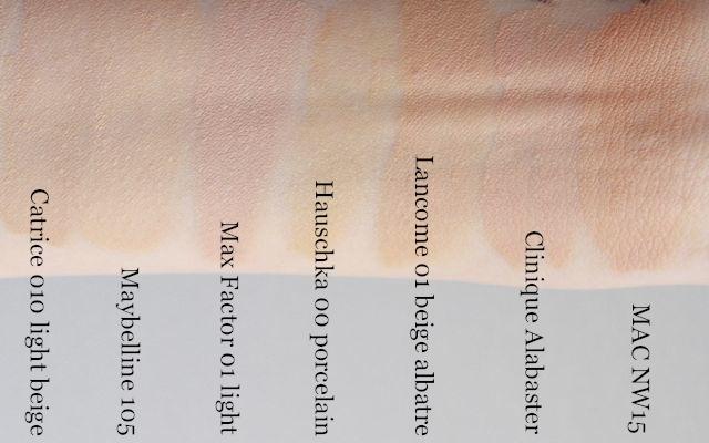 l.-r. Catrice Infinite Matt, Maybelline Fit Me, Max Factor Soft Resistant, Hauschka Translucent, Lancome Photogenic, Clinique Stay Matte, MAC Studio Finish