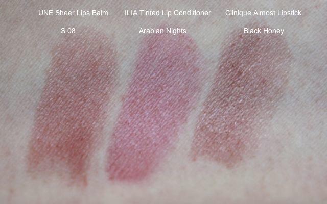 Swatch: UNE Sheer Lips Balm S08, ILIA Tinted Lip Conditioner Arabian Nights, Clinique Almost Lipstick Black Honey