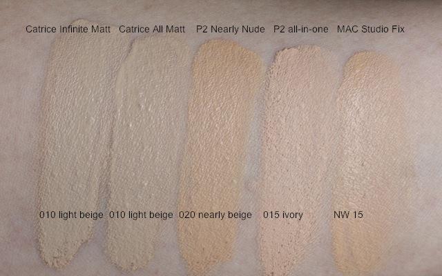 Swatch P2 Nearly Nude 020, Catrice All Matt 010, Catrice Infinite Matt 010, MAC NW15