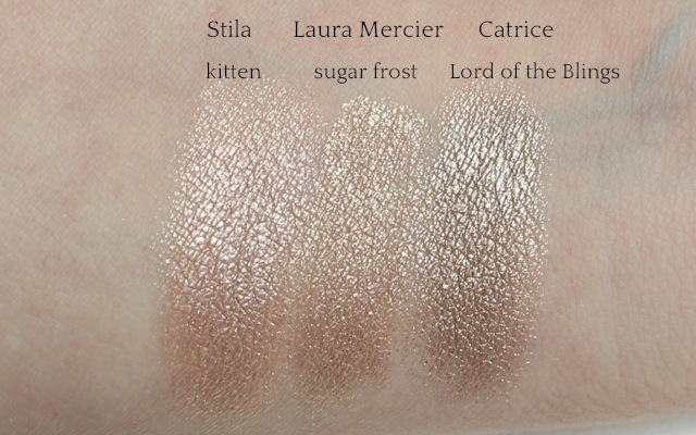 """Swatches: Stila """"kitten"""", Laura Mercier """"sugar frost"""", Catrice """"Lord of the Blings"""""""