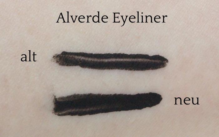 Swatch Alverde Liquid Eyeliner - 10 black - alt versus neu