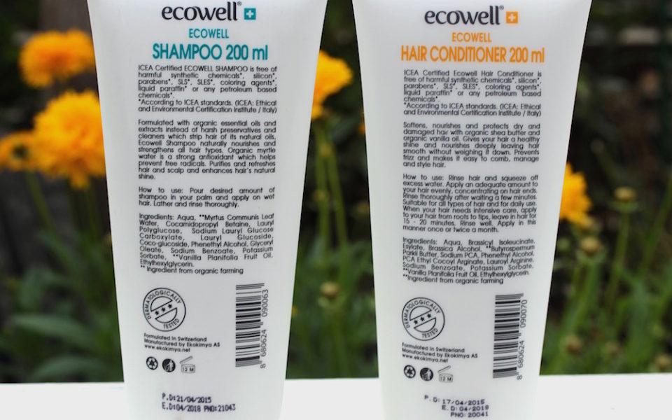 Inhaltsstoffe Ecowell Shampoo und Conditioner