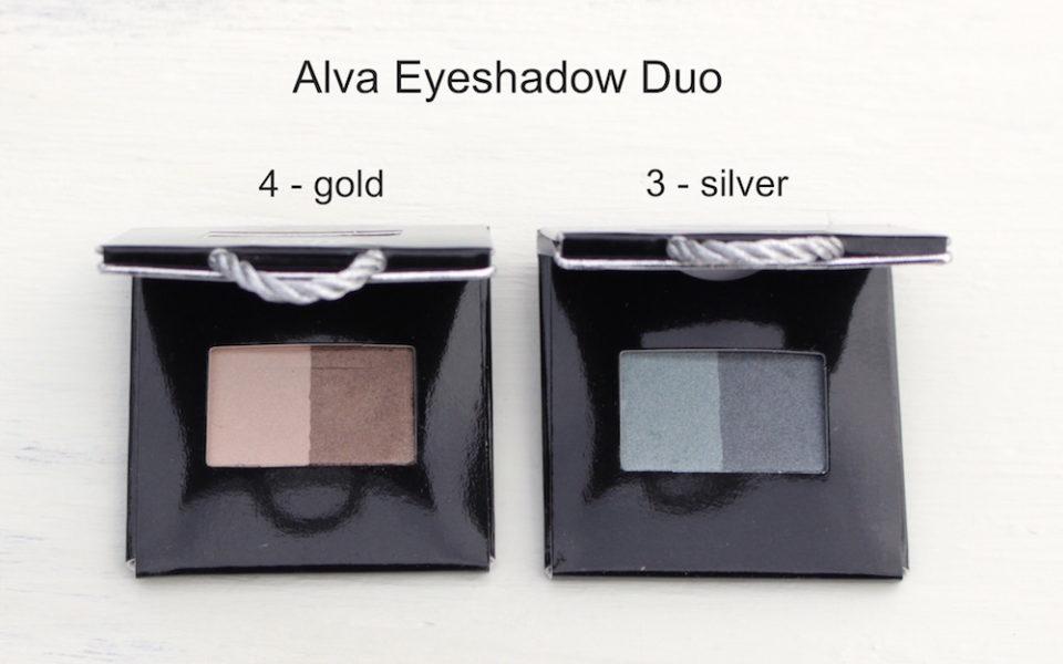 Alva Lidschatten Duo in silber und in gold.