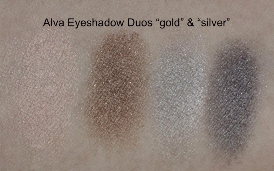"Swatches: Alva Coleur Eyeshadow Duo ""gold"" + ""silver"""
