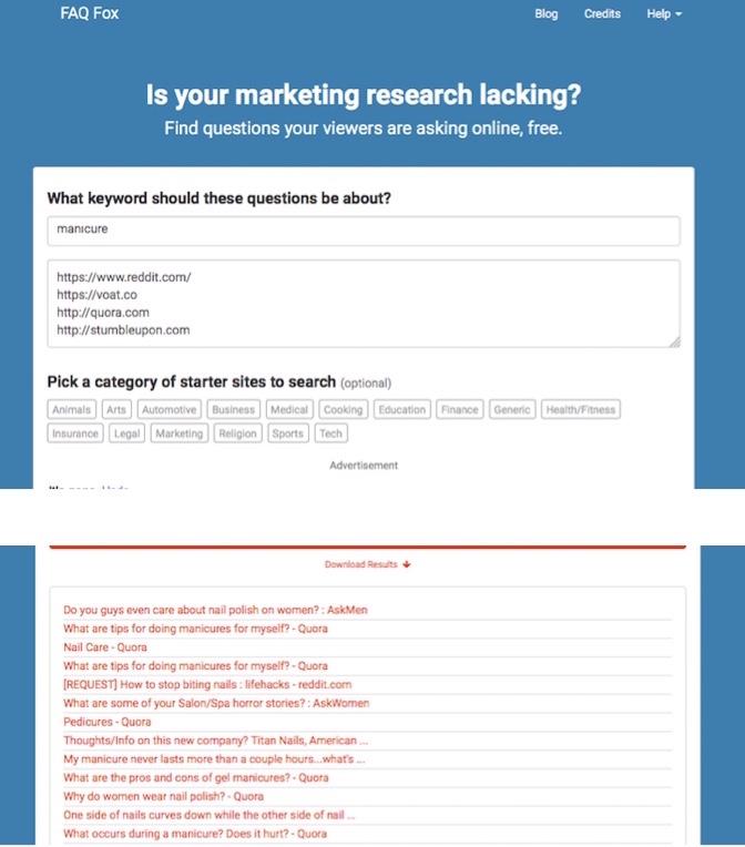 Find new blogpost ideas using FAQFox