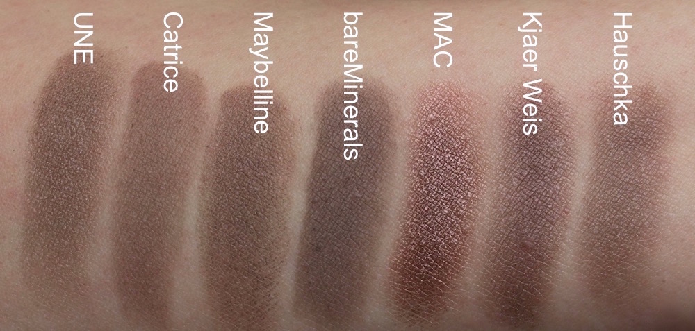 Swatches: UNE S15, Catrice Starlight Espresso, Maybelline permanent taupe, bareMinerals The Perfect Storm, MAC Satin Taupe, Kjaer Weis Wisdom, Dr. Hauschka graubraun