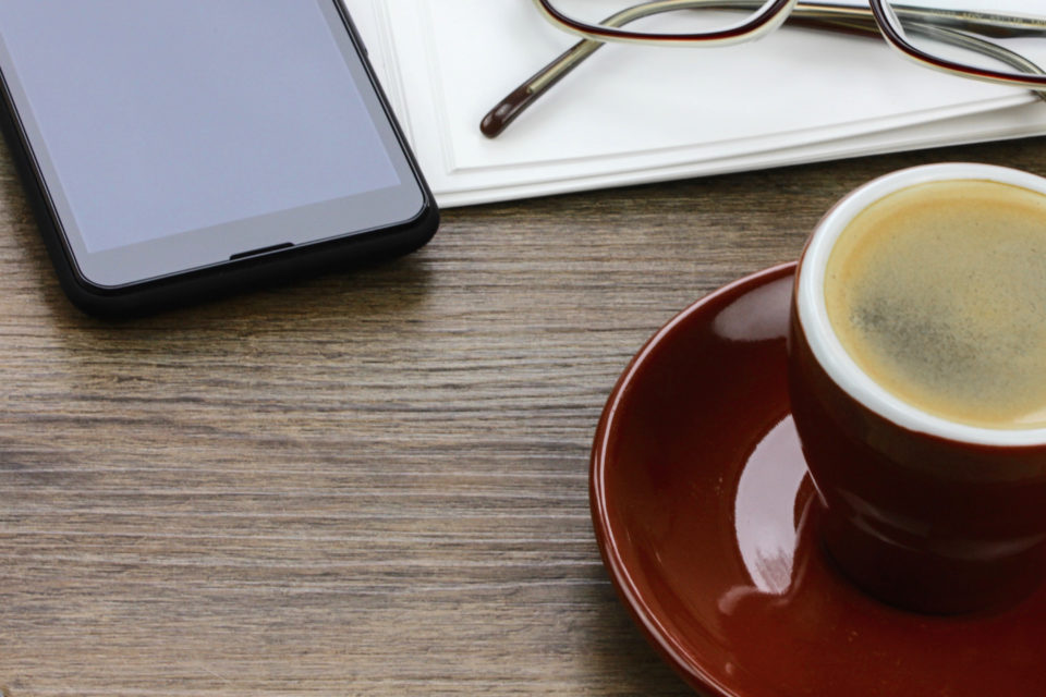 desk, coffee, phone, glasses, notebook