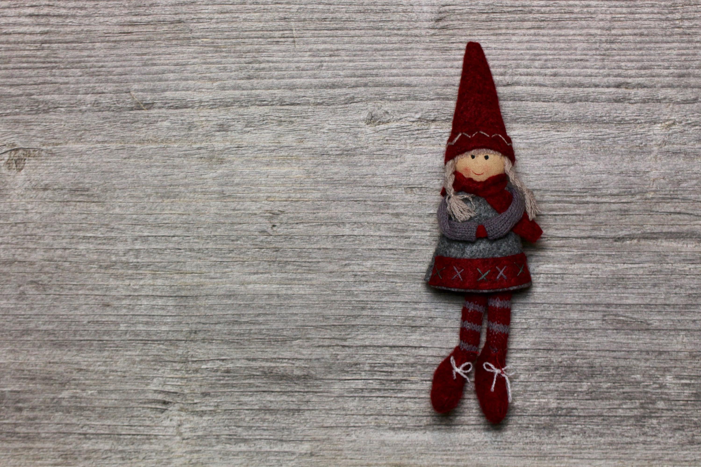 flatlay winter doll figure