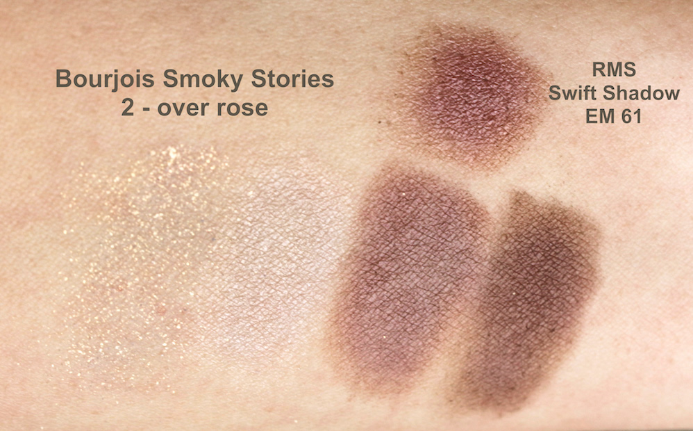 Bourjois Smoky Stories - over rose + RMS Swift Shadow EM 61 Swatches