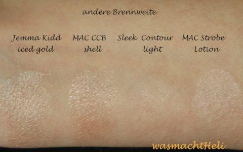 Swatch JK Dewy Glow, MAC cream colour base shell, Sleek Face Countour Kit, MAC Strobe Liquid Lotion