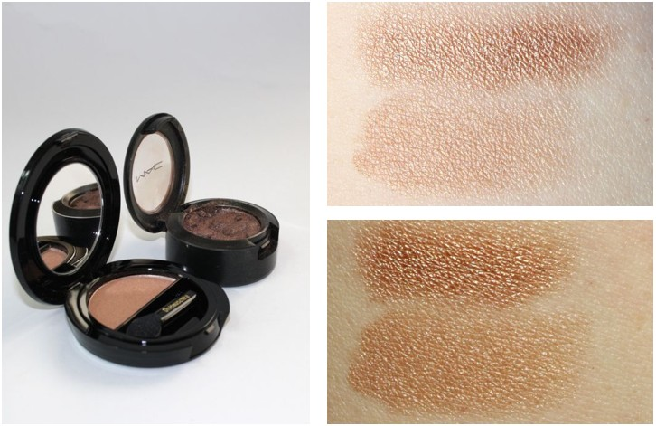 Review + Swatch Dr Hauschka Solo Eyeshadow 02 golden earth, MAC eyeshadow Woodwinked