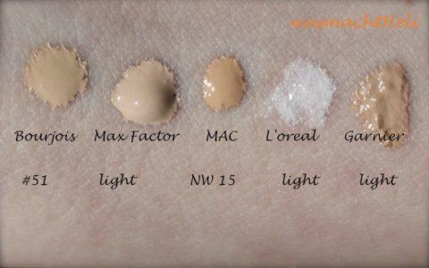 Swatch: Bourjois Healthy Mix Foundation 51, Max Factor Soft Resistant light, MAC NW15, L'oreal BB Cream nude magique, Garnier BB Cream light