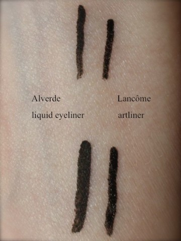 Vergleich Alverde und Lancome eyeliner Swatches