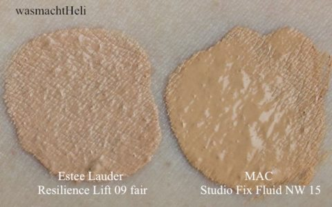 Swatches Estee Lauder Resilience Lift Extreme Makeup 09 light, MAC Studio Fix Fluid NW 15