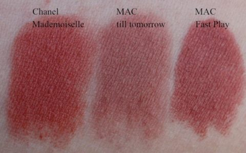 Swatches: Chanel Mademoiselle, MAC till tomorrow, MAC Fast Play