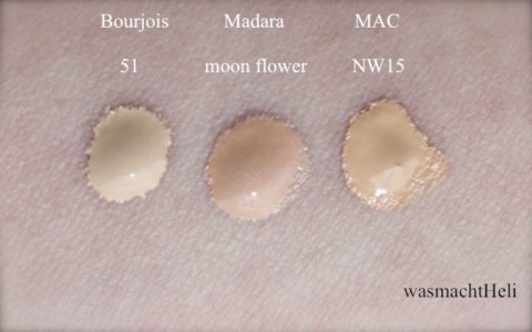 Swatches Madara Moon Flower, Boujois Healthy Mix 51 light vanilla, MAC Studio Fix Fluid NW15