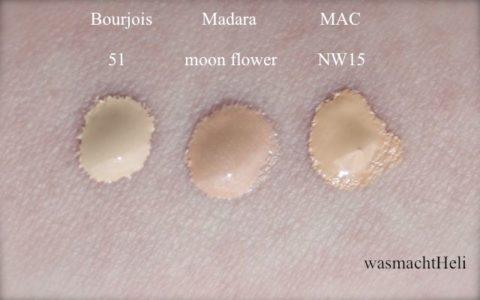 Swatches Madara Moon Flower, Boujois Healthy Mix 51 light vanilla, MAC Studio Fix Fluid NW15