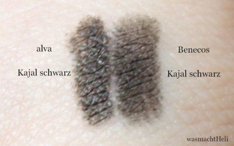 Swatches alva und Benecos Kajal