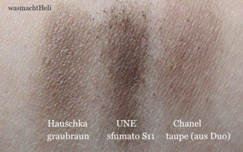 Swatches Hauschka graubraun UNE sfumato S11 Chanel taupe delicat