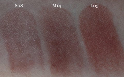 Swatches UNE Natural Beauty Lipsticks S08 M14 L05