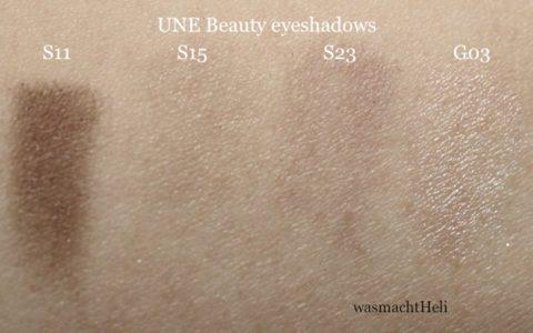 Swatches UNE Sfumato Eyeshadows S11, S15, S23, G03