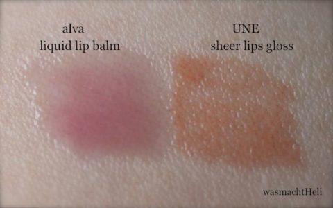 Swatches alva liquid lip balm UNE sheer lips gloss