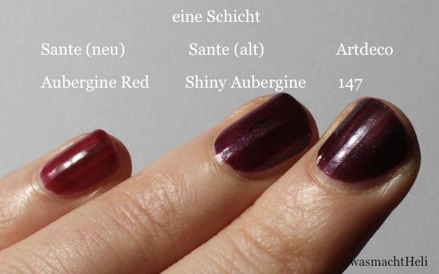 Swatch Sante Aubergine Red, Shiny Aubergine und Artdeco 147