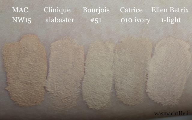Swatches von Clinique Stay Matte Foundation alabaster, MAC NW15, Bourjois Healthy Mix #51, Catrice Infinite Matt 010 ivory und Ellen Betrix Soft Resistant light