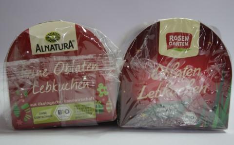Lebkuchen Oblaten Alnatura und Rosengarten im Vergleich