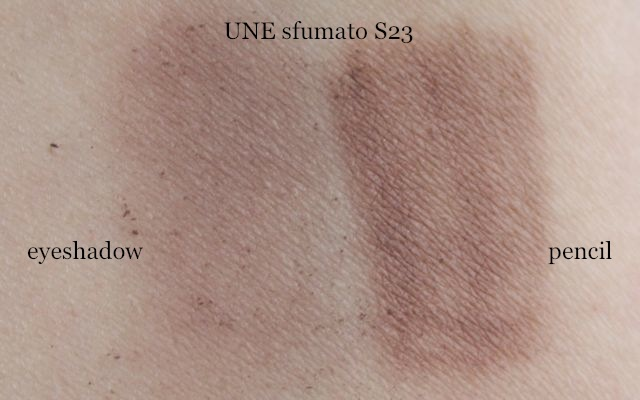 Swatch UNE sfumato S 23 eyeshadow und pencil