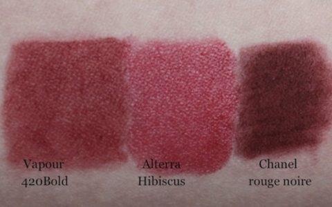 Swatch Vapour Siren Lipstick 420 Bold, Alterra Hibiscus, Chanel rouge noire
