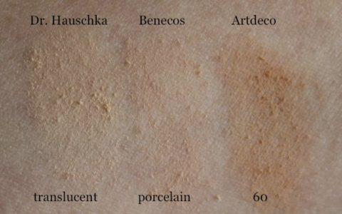 "Dr. Hauschka translucent, Benecos Compact Powder ""porcelain"", Artdeco Hydra Mineral Compact ""60"""