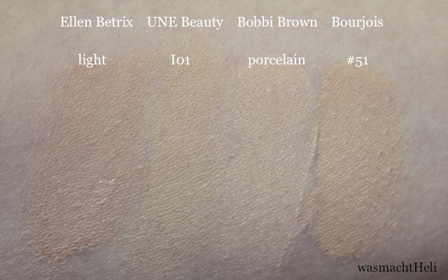 "UNE Natural Beauty BB Cream Foundation I01, Bourjois Healthy Mix #51, Bobbi Brown Cream Compact ""porcelain"""
