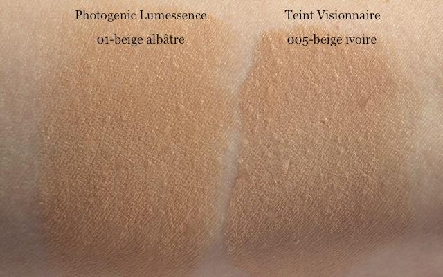 Swatch: Lancome Photogenic Lumessence 01 beige albatre vs. Lancome Teint Visionnaire 005 beige ivoire