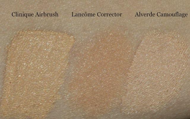 Lancome Teint Visionnaire Make-up Korrekturfluid im Vergleich zu Clinique Airbrush und Alverde Camouflage