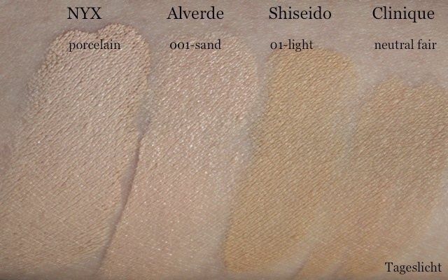 "Swatch: NYX HD Photogenic Concealer Wand ""porcelain"", Alverde Camouflage ""001-sand"", Shiseido Natural Finish Cream Concealer ""1-light"", Clinique Airbrush Concealer ""4-neutral fair"""